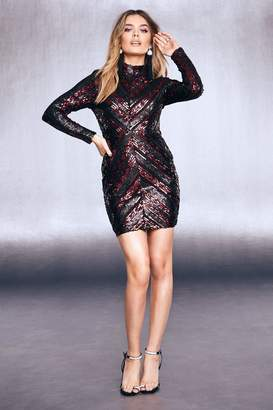 boohoo High Neck Sequin Bodycon Dress
