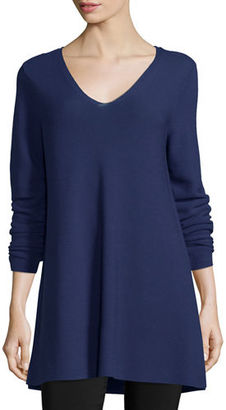 Eileen Fisher Crisp Cotton Links Long-Sleeve V-Neck Tunic, Plus Size $238 thestylecure.com