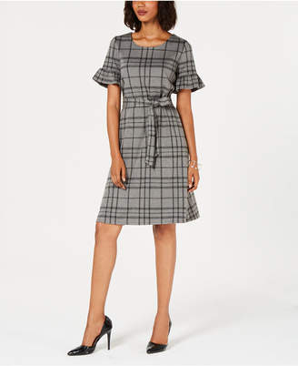 NY Collection Petite Plaid Tie-Waist Dress