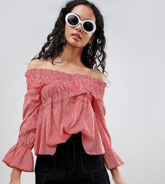 Bardot Influence Tall Stripe Top With Shirred Detail
