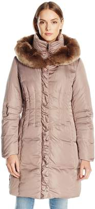 T Tahari Women's Audrey Hood Down with Faux Fur Hood