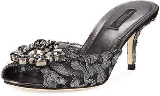 Dolce & Gabbana Keria Jeweled Lace High-Heel Slide Sandals