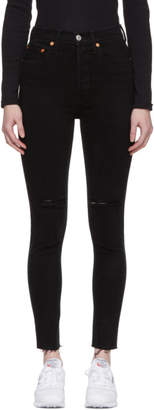 RE/DONE Black Originals Knee Slit High-Rise Ankle Crop Jeans