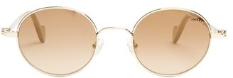 Moncler - Round Frame Metal Sunglasses - Mens - Gold