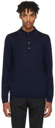 Paul Smith Navy Long Sleeve Merino Polo