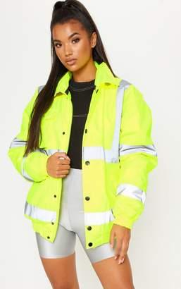 PrettyLittleThing Neon Yellow High Vis Coat