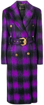 Versace checked belted coat