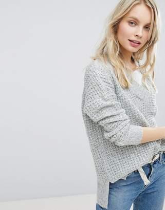 Hollister Deep V-Neck Waffle Knit Sweater