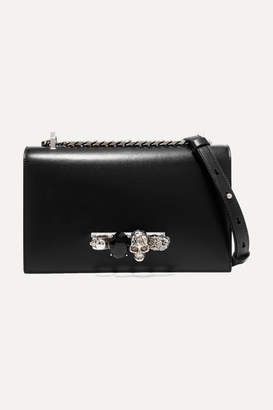 Alexander McQueen Jewelled Satchel Embellished Leather Shoulder Bag - Black