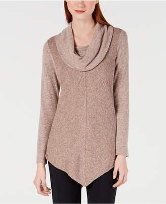 BCX Asymmetrical-Hem Cowl-Neck Sweater