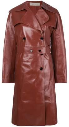 Nina Ricci double breasted leather coat