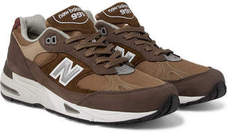 New Balance 991 Leather-Trimmed Nubuck, Suede and Mesh Sneakers - Dark brown