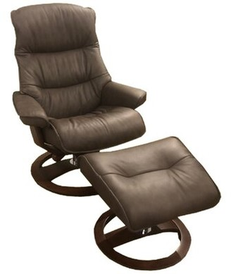 Omnia Leather Big Sur Ergo Leather Manual Swivel Recliner with Ottoman Omnia Leather