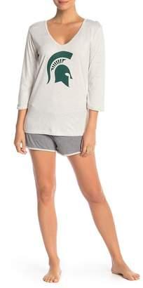 Munki Munki Michigan State Long Sleeve & Knit Shorts 2-Piece Pajama Set