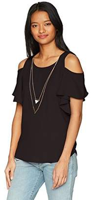Amy Byer A. Byer Women's Young Teen Cold Shoulder Scoop Neck Ruffle Sleeve Top