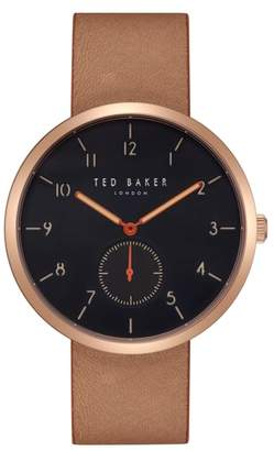 Ted Baker Josh Leather Strap Watch, 42mm