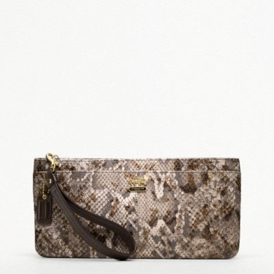 Madison Embossed Python Zip Clutch
