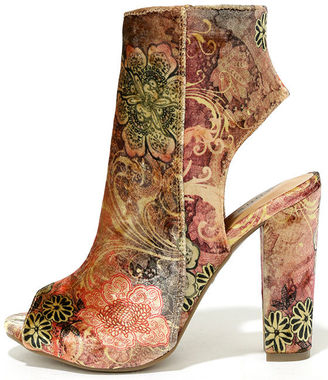 Zennia Mauve Multi Velvet Peep-Toe Ankle Booties $41 thestylecure.com