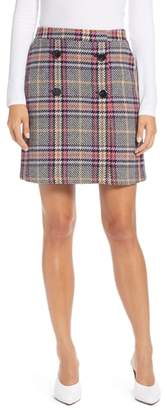 Halogen Button Detail Plaid Skirt