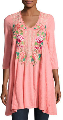 JWLA For Johnny Was Dorana 3/4-Sleeve Embroidered Tunic $155 thestylecure.com