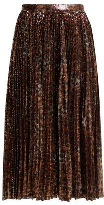 MSGM Pleated Leopard Sequinned Skirt - Womens - Black Gold