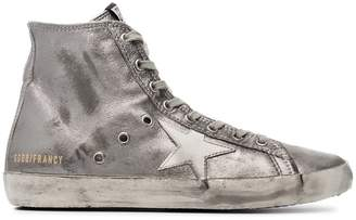 Golden Goose Pewter Francy Leather Hi Top Sneakers