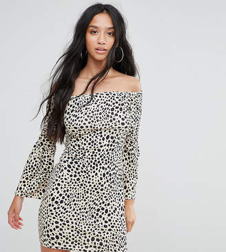 Asos Off Shoulder Bodycon Mini Dress with Trumpet Sleeve in Animal Print