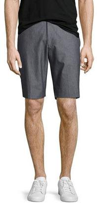 Theory Beck Hallstat Stretch-Cotton Shorts, Charcoal $185 thestylecure.com