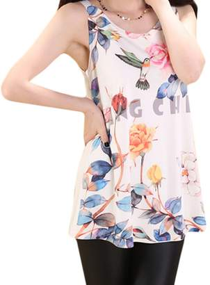 Black Temptation Leisure Flowers Vest Polyester Tank Top Loose Condole Belt Show thin