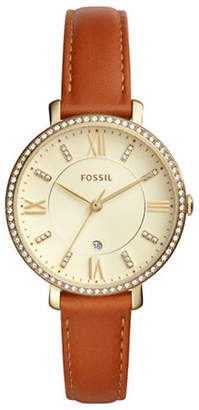 Fossil Analog Jacqueline Goldtone Leather Strap Watch