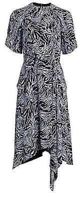 Proenza Schouler Women's Asymmetric Draped Crepe de Chine Midi Dress - Size 0