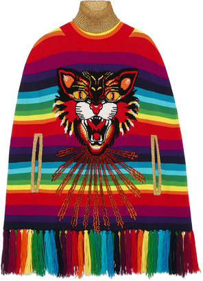 Angry Cat intarsia striped knitted cape $4,100 thestylecure.com