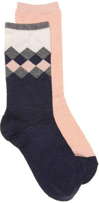 Via Spiga Cashmere Argyle Crew Socks - 2 Pack - Women's