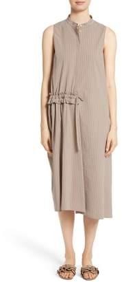 Fabiana Filippi Asymmetrical Ruffle Pinstripe Dress