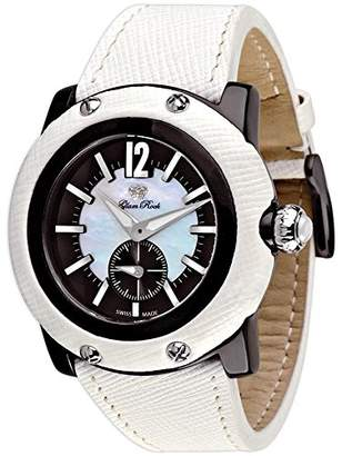 Glam Rock Unisex GR10015 Miami Collection Black Ion-Plated Stainless Steel and White Leather Watch
