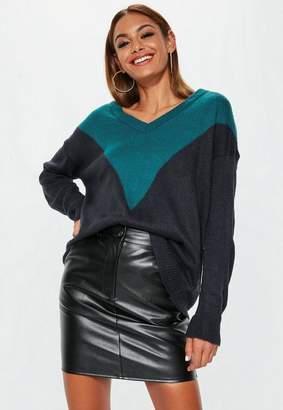 Missguided Navy Chevron Splice V Neck Sweater