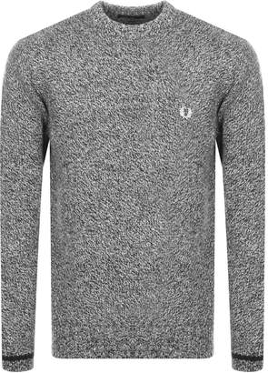 Fred Perry Classic Crew Neck Knit In Black Twist