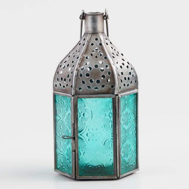 Small Jade Green Embossed Glass Tabletop Lantern