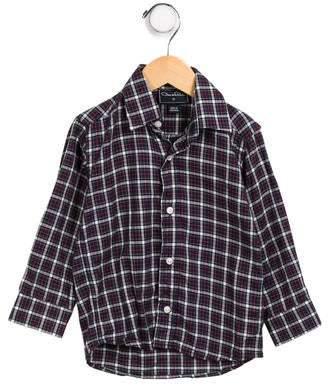 Oscar de la Renta Boys' Plaid Long Sleeve Shirt