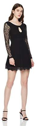 True Angel Women's Round Neck with Keyhole at Front V Shape at Back Neck Long Sleeve Lace Cocktail Dress M