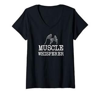 Womens Funny Muscle Whisperer Massage Physical Therapist V-Neck T-Shirt