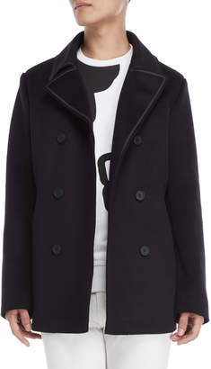 Bikkembergs Black Double-Breasted Wool Coat