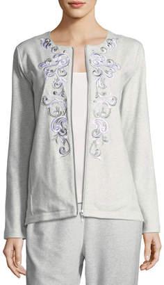 Joan Vass Embroidered Zip-Front Jacket