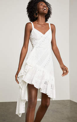 BCBGMAXAZRIA Asymmetrical Cotton Eyelet Dress