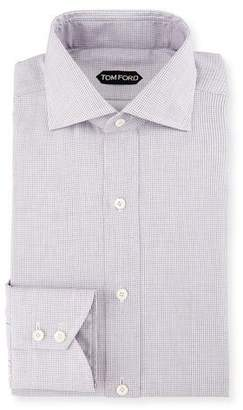 Tom Ford Tiny-Dot Striped Slim Dress Shirt, Pink