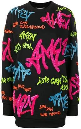 Amen sequin embroidered graffiti logo sweater