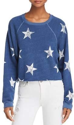 Monrow Star Print Cropped Sweatshirt