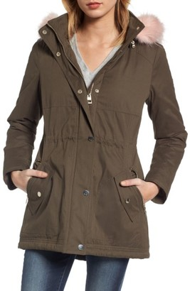 Women's Guess Parka With Removable Faux Fur Trim Hood $168 thestylecure.com