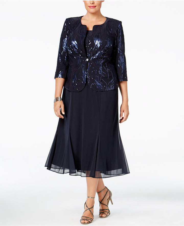 Alex Evenings Alex Evenings Plus Size Sequined Chiffon Dress and Jacket