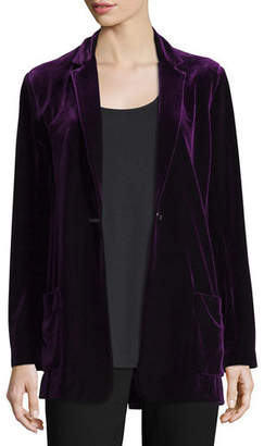 Joan Vass Velvet Button-Front Jacket, Petite